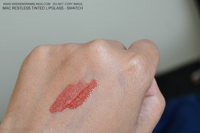 MAC Makeup Tinted Lipglass Restless Styleseeker Collection Indian Beauty Blog Reviews Swatches Looks FOTD Ingredients