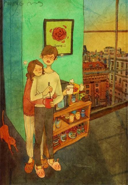 illustration artiste coréen puuug vie quotidienne d'un couple