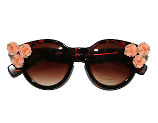 cat eye sunglasses from roses and clementines embellished with orange roses