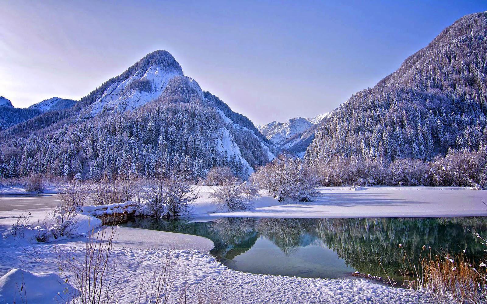 Winterlandschap Met Bergen Mooie Leuke Achtergronden