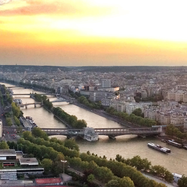Sunset view over the Seine from the Eiffel Tower in Paris France