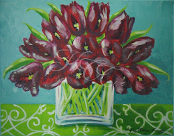 Tulips in Teal Room