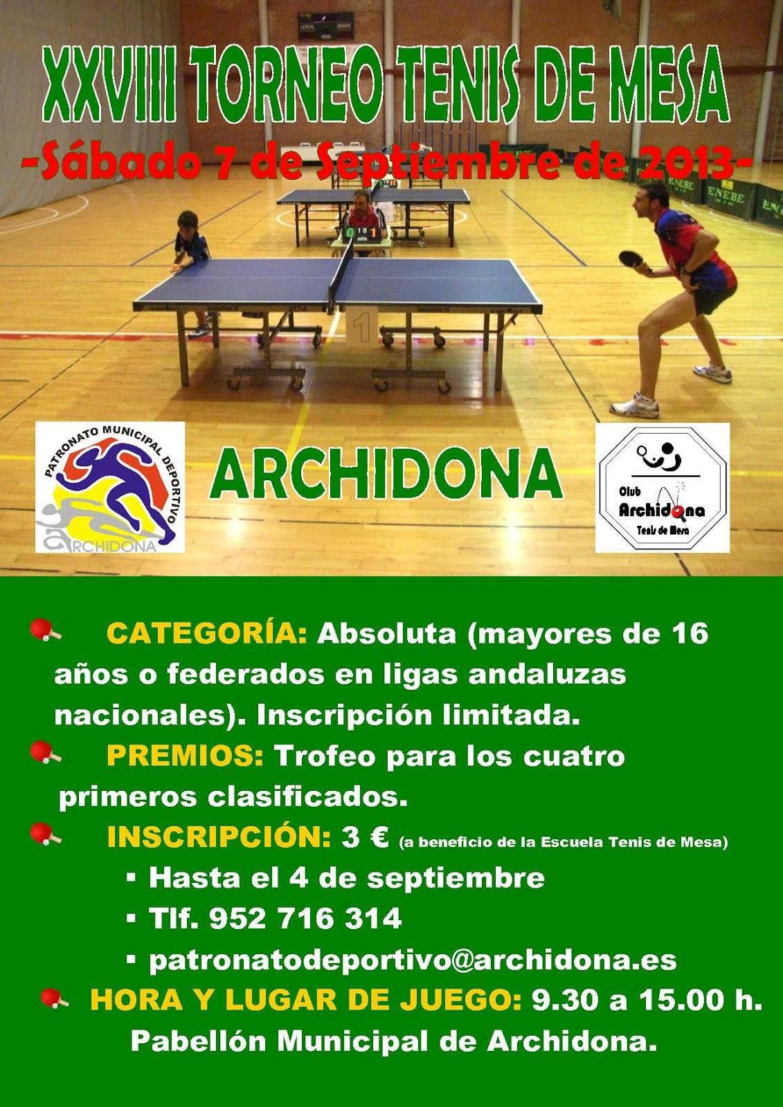 Patronato municipal deportivo de archidona torneo de tenis de mesa - Torneo tenis de mesa ...