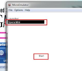... gambar diatas, sekarang korang pilih je 'opera mini' dan klick 'Start