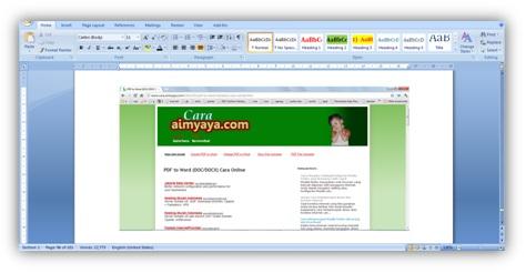 Gambar: menyisipkan hasil screen capture / tampilan layar