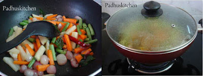 Cooking vegetables for sambar sadam