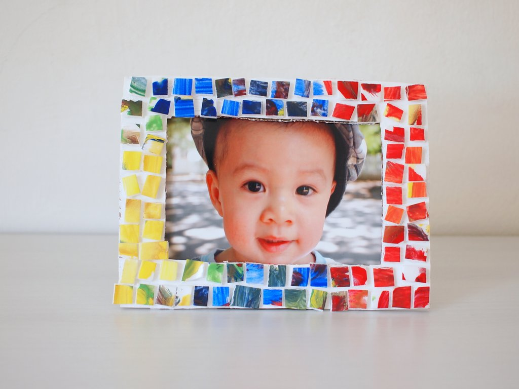 Painted mosaic styrofoam tile picture frame pink stripey socks jeuxipadfo Choice Image