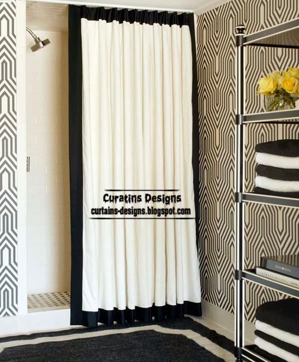 Black and white shower curtain bathroom curtains ideas 2014