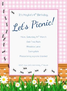 Girly Picnic Party Invitation