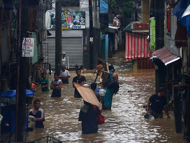 Flooded roads as seen in Makati, Philippines