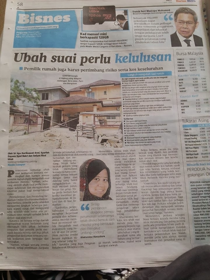 PENULIS DI HARIAN METRO 1.3.2014