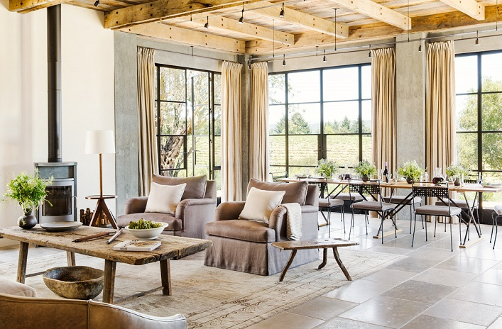 French Farmhouse By Incorporating A Lot Of Reclaimed Wood Stones And Metal Elements This Wine Country Retreat Is Turned Into Modern Rustic Abode