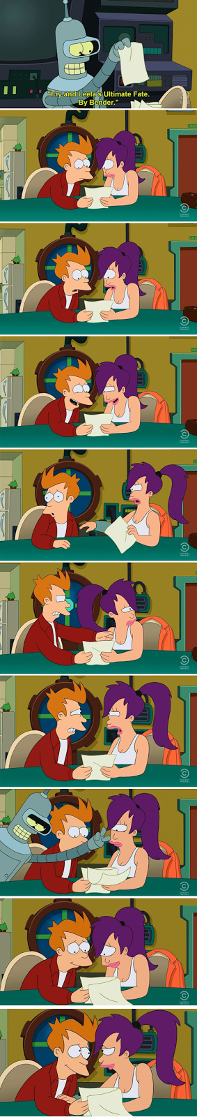 In panel 5, Leela slaps Fry and then in panel 6, Fry slaps Leela back. Without the animation or any slap visual FX, it looks like Fry is about to puke from bad shellfish and then Leela is about to do the same too.