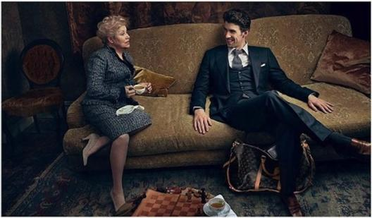 Larisa Latynina and Michael Phelps pose together for Louis Vuitton