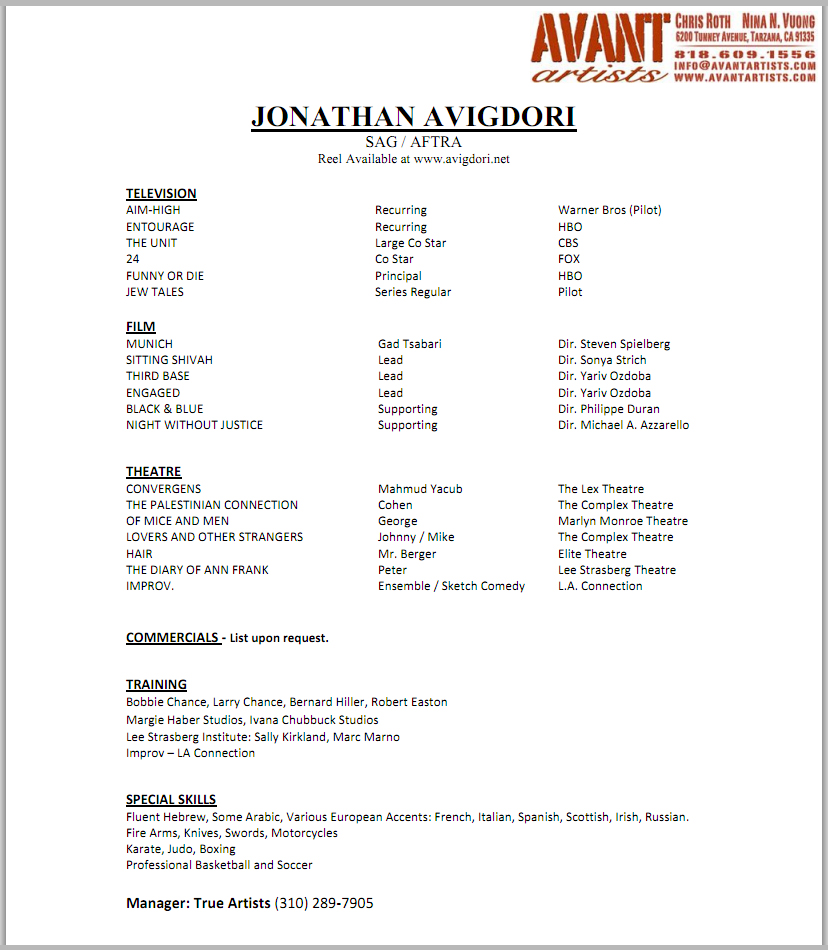 professional acting resume template .