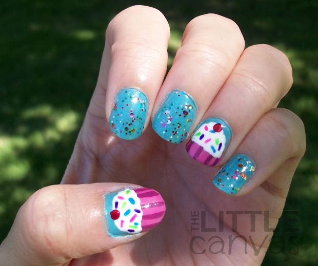 birthday cupcake nail art
