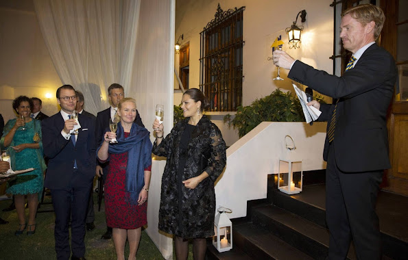 Crown Princess Victoria and Prince Daniel attends an reception at the Swedish Consulate General which ambassador Jakob Kiefer hosted in Lima.