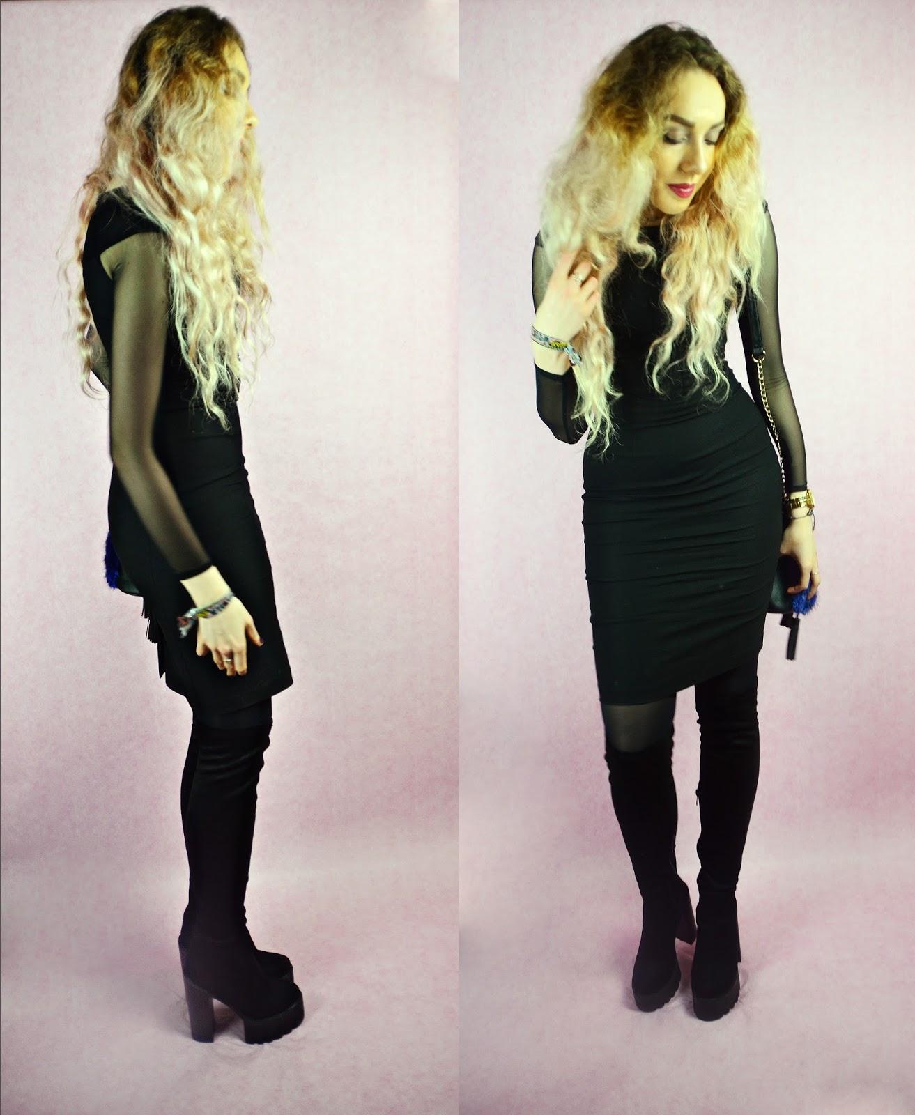Valentines Day, Hybrid Haeley Mesh Sleeve Dress with Lace Detail Black, Stephi LaReine, UK Lifestyle Blog,