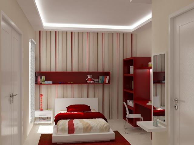 dormitorio para jovencitas rojo y blanco