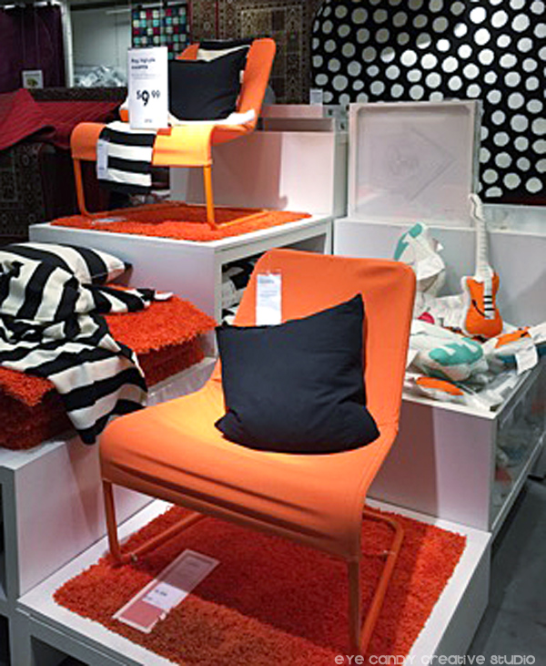 orange & black display at IKEA west chester, whodey, living area ideas