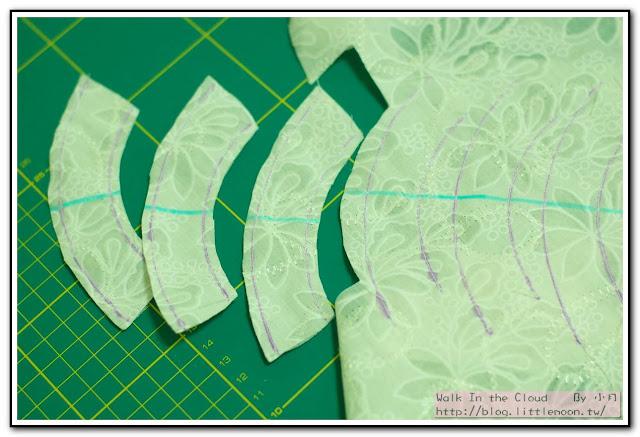 婚戒壁飾 - 弧形留縫份0.3cm剪下