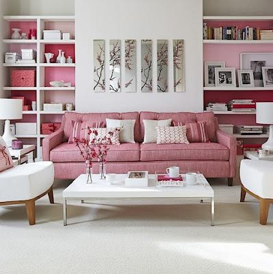 sala de estar acentos rosa