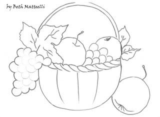 cesta de frutas para pintar