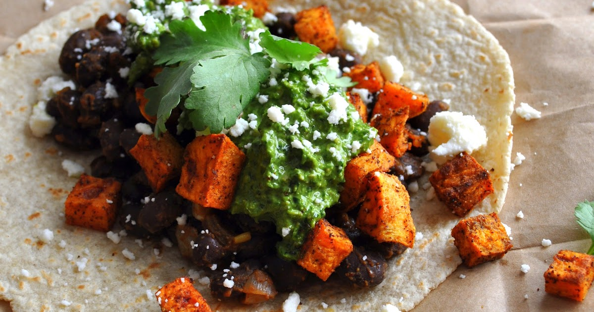 ... RECIPE BOX: Sweet Potato and Black Bean Tacos with Swiss Chard Pesto