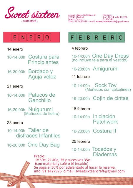 calendario talleres enero y febrero en madrid