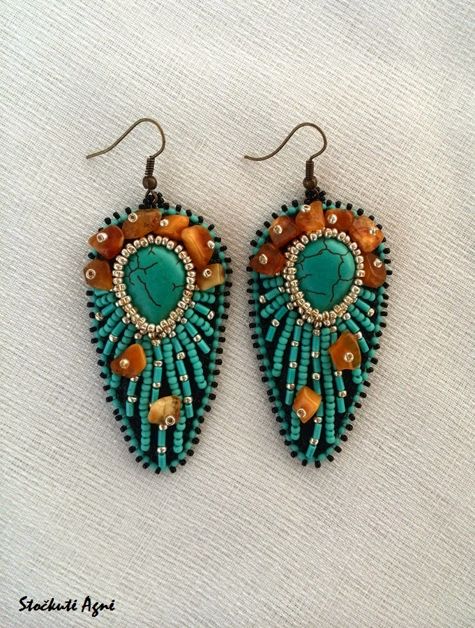 Stockute designs bead embroidered earrings quot egyptian sun