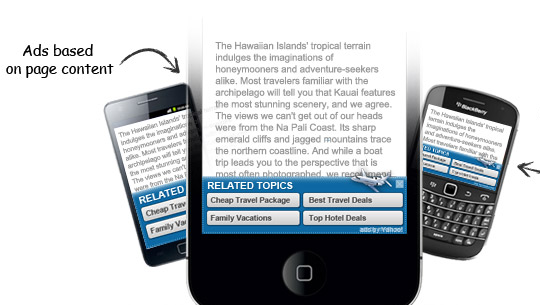 Mobile Advertisements by  Yahoo! Bing Contextual Ads Program