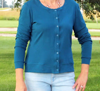 Jenna Cardigan by Muse Patterns in a Girl Charlee Cotton Spandex kni