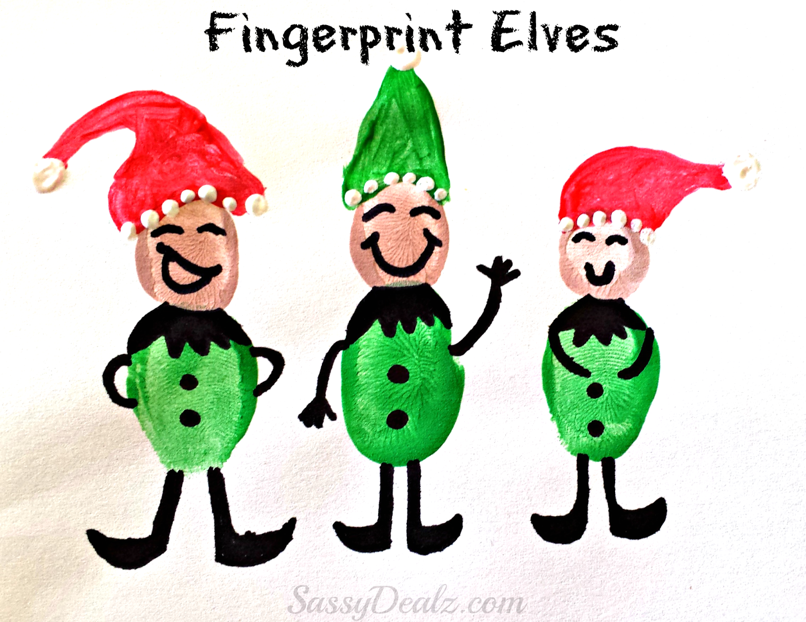 Fingerprint Elves Craft Christmas