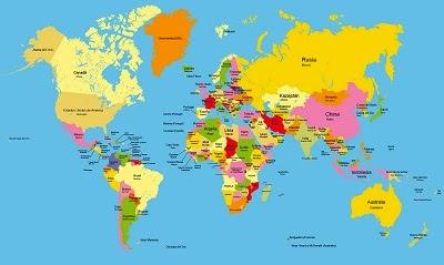 Planisferios con División Política y con nombres - Color