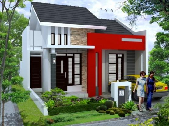 Cat Rumah Minimalis Tampak Depan, merah, putih, ada taman