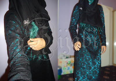 The first is this black & sea green jilbab