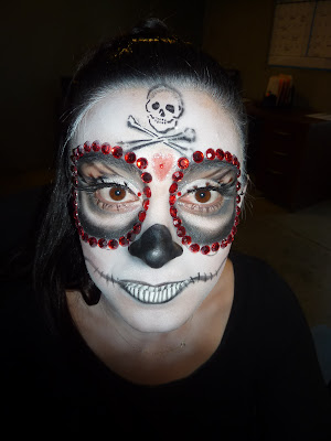 Girl with Halloween Face Makeup Skeleton