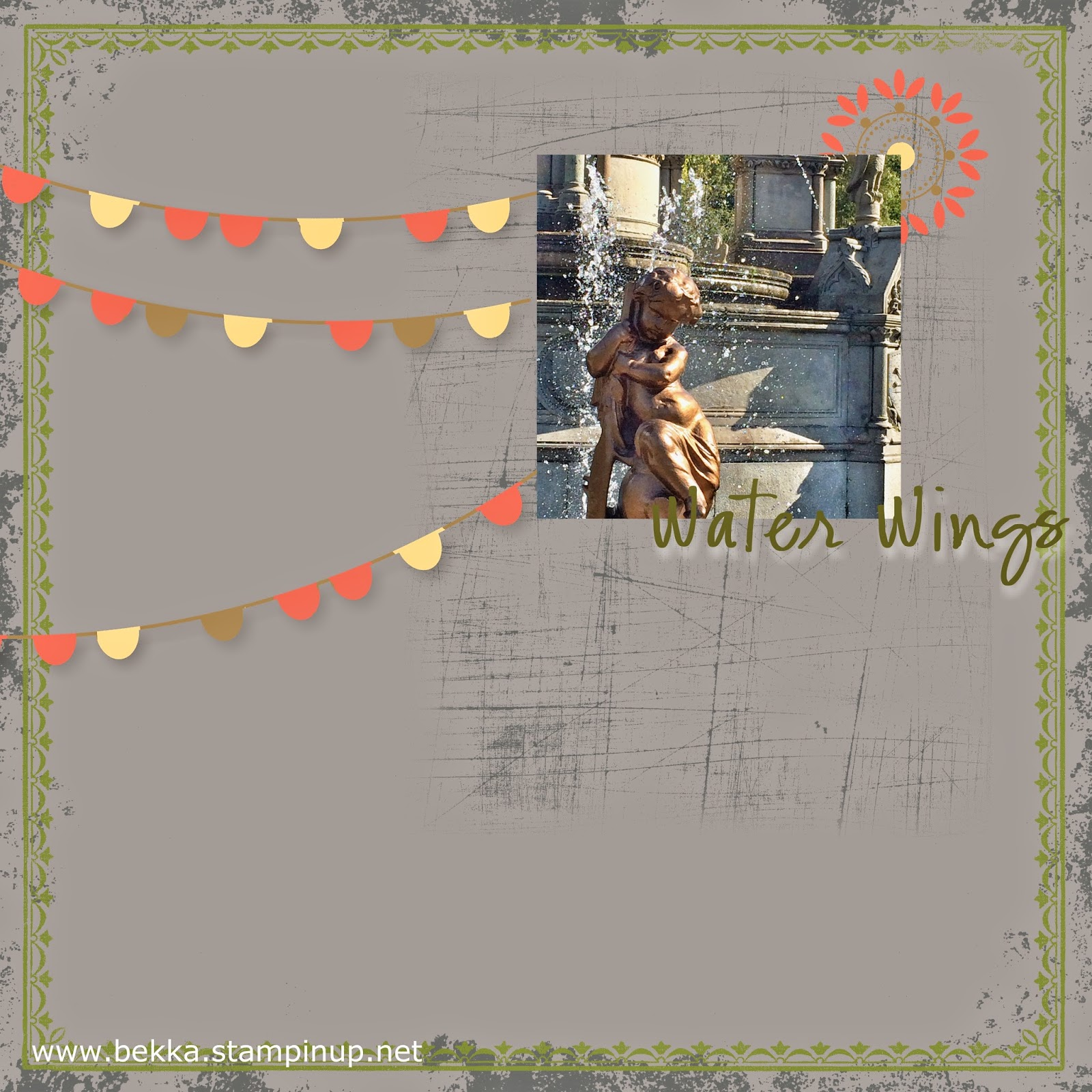 Water Wings Digital Scrapbook Page by Stampin' Up! UK Independent Demonstrator Bekka Prideaux