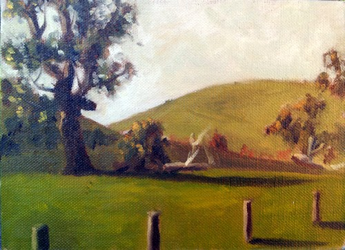 Oil painting of a eucalypt, with fence posts in the foreground and rolling hills in the background.