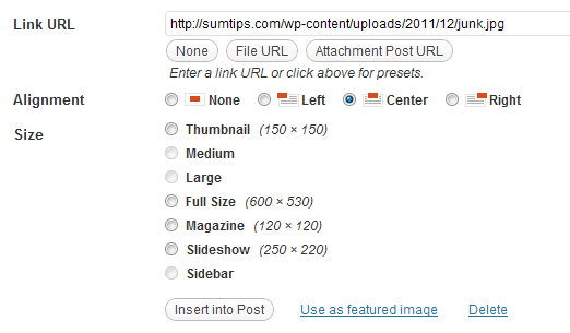 Images Sizes in WordPress Media Uploader