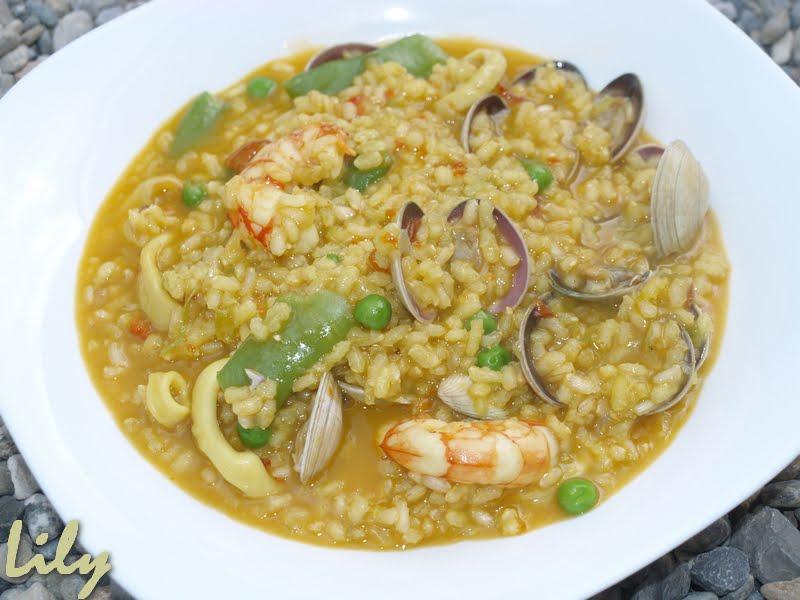 Delici s mos arroz integral caldoso con almejas gambas - Arroz con gambas y almejas ...