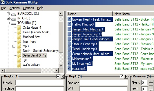 Cara cepat mengubah nama file MP3 secara massal dengan Bulk Rename Utility