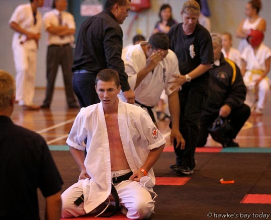 L-R: Jesse Wall, Hastings, eventual winner of the Men's Open Final; Rimitira Rihana, Hastings - New Zealand Karate Organisation Kyokushin Matsushima Karate Championships at Hastings Sports Centre, Hastings photograph