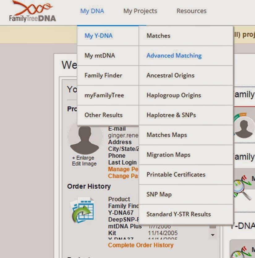 Advanced Matching feature of FamilyTreeDNA website