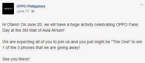 Oppo Fans Day this June 20 at Mall of Asia Atrium