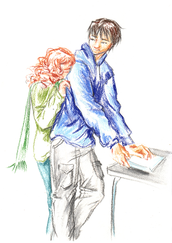 câlin Marika et Roman (Chronopulp) - dessin du calendrier de tendresses