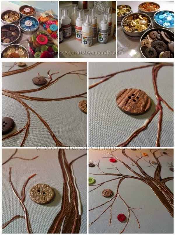 DIY Vibrant Button Tree on Canvas