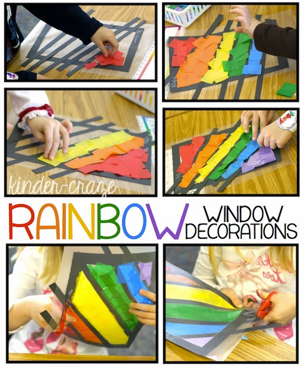 bright spring rainbow window decorations tutorial