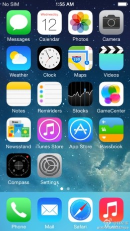 Presunta immagine del menu di iOS 8.0 di Apple