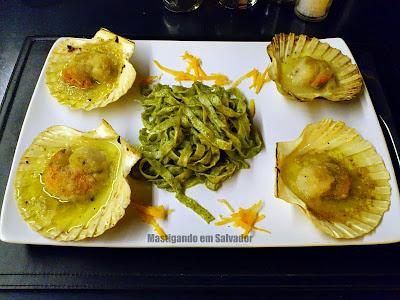 Restaurante Montello Gourmet: Vieiras Gratinadas, com Tagliatelle ao Molho Pesto